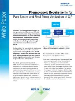 Pharmacopeia Requirements for Pure Steam and Final Rinse Verification of CIP