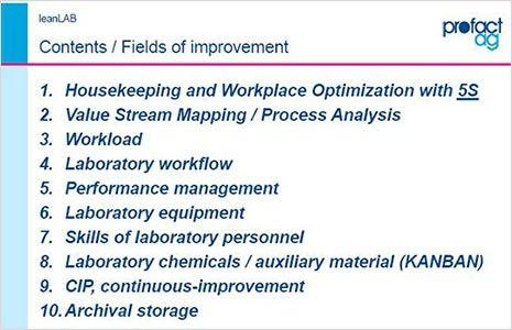 Lean Lab Approach - fields of improvements