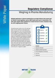 White Paper: Regulatory Compliance - Weighing in Pharma Manufacturing