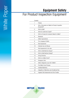 Product Inspection Equipment Safety