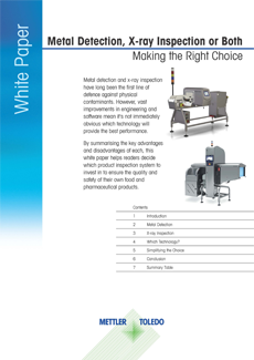 Detección de metales, inspección por rayos X o ambas